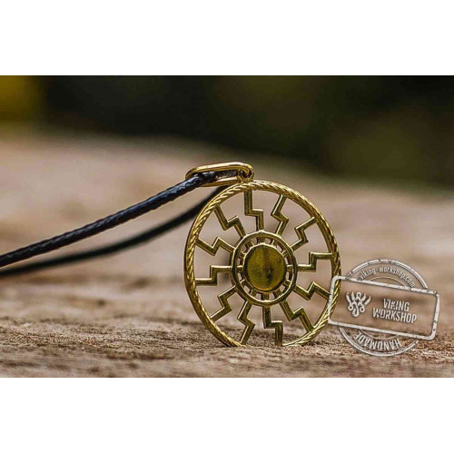 Black Sun Symbol Pendant 14K Gold Viking Jewelry