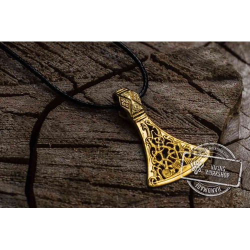 Viking Axe 14k Yellow Gold Pendant from Mammen Village