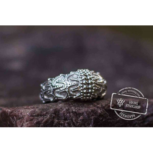 18K White Gold Draupnir Odin Ring Viking Jewelry