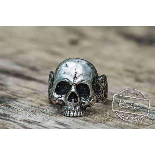 Skull Sterling Silver Biker Ring Unique Jewelry