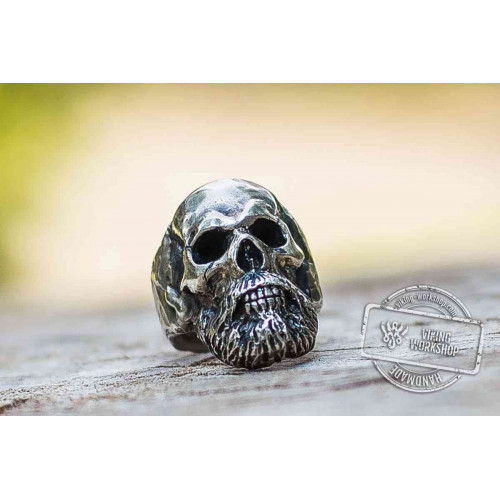 Bearded Skull Sterling Silver Unique Ring Biker Jewelry