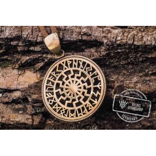 Black Sun Symbol with Runic Calendar Bronze Pendant