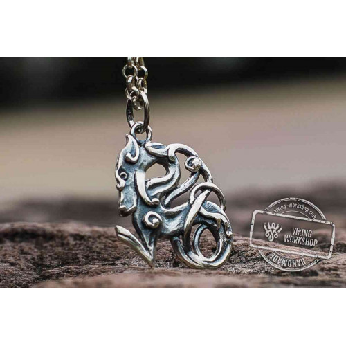Celtic Wolf Ornament  Sterling Silver Animal Pendant