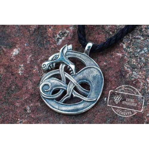 Celtic Wolf Sterling Silver Pendant Pagan Amulet