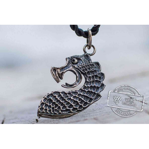Drakkar The Head of Viking Boat Pendant Sterling Silver Unique Viking Ship Necklace