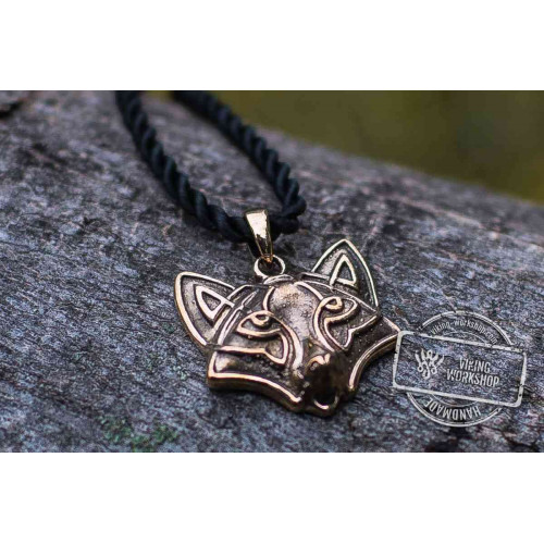 Fox Pendant Bronze Animal Amulet