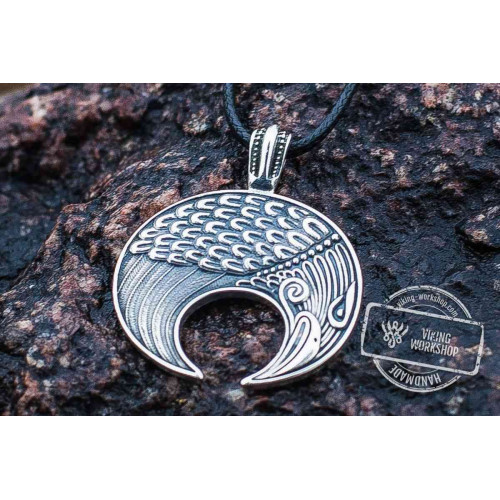 Lunula Pendant Sterling Silver Female Necklace with Raven Symbol
