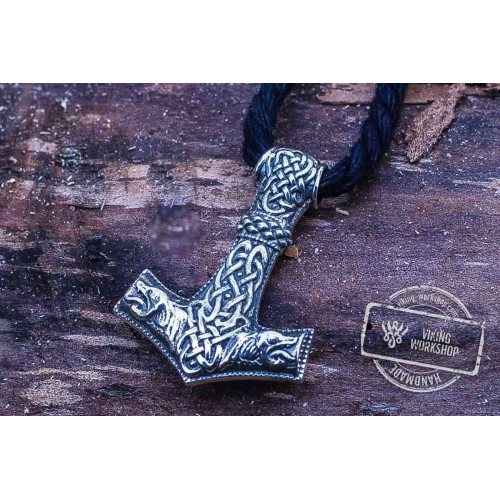 Thor's Hammer Pendant Sterling Silver Mjolnir with Wolf Ornament