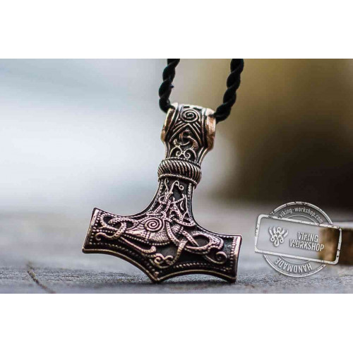 Huge Thor's Hammer Pendant Bronze Mjolnir from Mammen Village