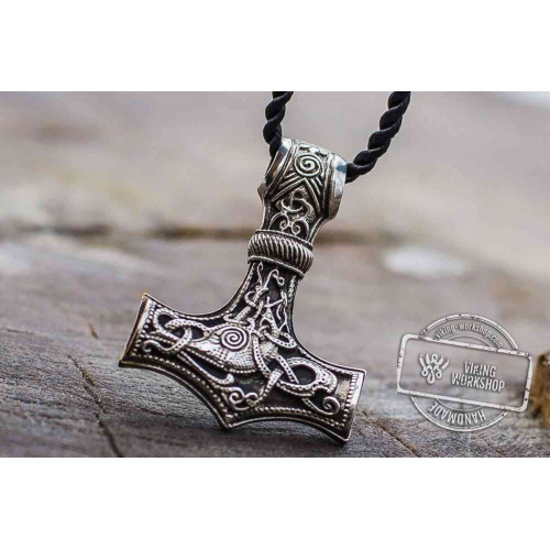 Huge Thor's Hammer Pendant Sterling Silver Mjolnir with Ornaments from Mammen Village