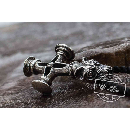 Thor's Hammer Pendant Sterling Silver Mjolnir aka Olaf Cross or Wolf Cross