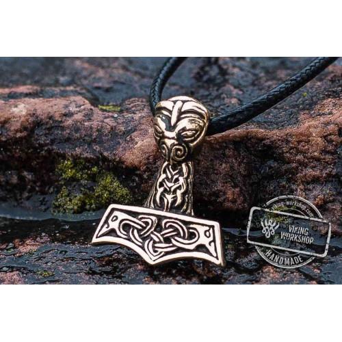 Thor's Hammer Pendant Bronze Mjolnir with Ravens
