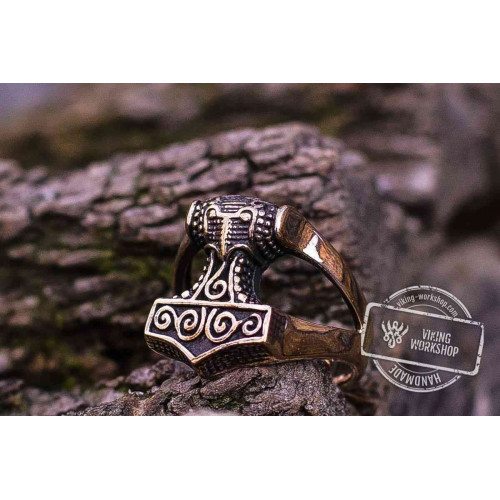 Thor's Hammer Bronze Viking Ring