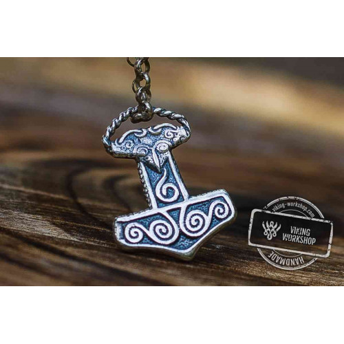 Small Thor's Hammer Pendant Sterling Silver Mjolnir Scania Island