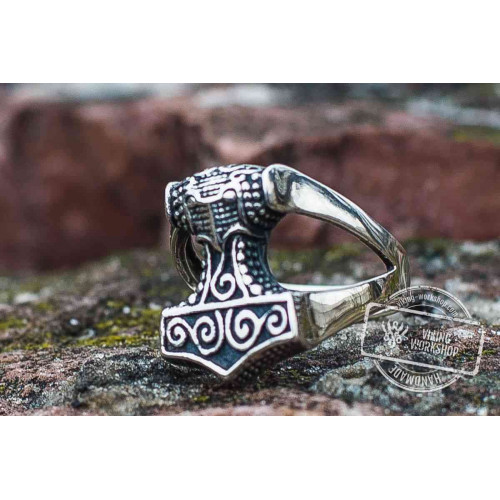 Thor's Hammer Sterling Silver Viking Ring