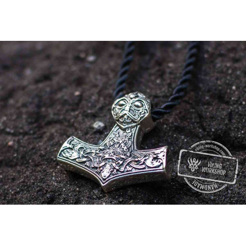 Thor's Hammer Pendant Sterling Silver Mjolnir Norse Jewelry