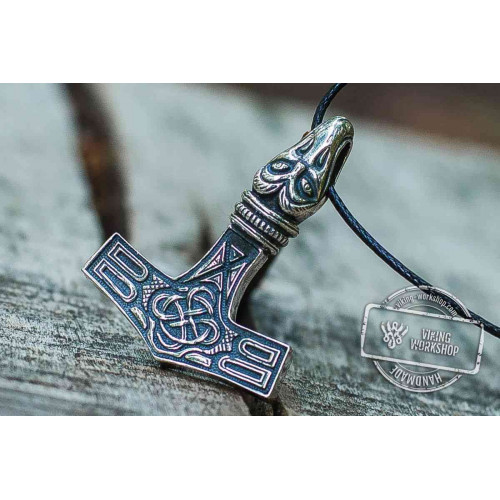 Thor's Hammer Pendant Sterling Silver Mjolnir with Raven