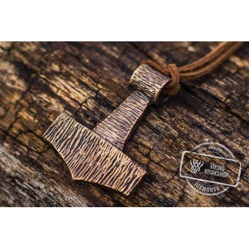 Thor's Hammer Pendant Bronze Mjolnir Wooden Style