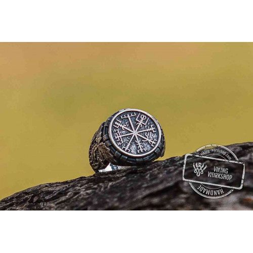Vegvisir Symbol aka Runic Compass with Oak Leaves Sterling Silver Viking Ring
