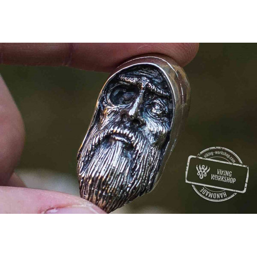 Odin Allfather Sterling Silver Pendant Viking Amulet