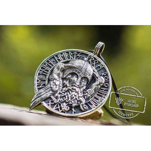 Odin Allfather with Huginn and Muninn Sterling Silver Viking Pendant