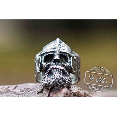 Bearded Skull with Helmet Sterling Silver Unique Ring Biker Jewelry