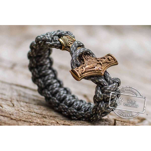 Paracord Bracelet with Huge Bronze Mjolnir (Grey)