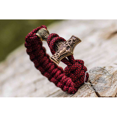 Paracord Bracelet with Huge Bronze Mjolnir (Red)