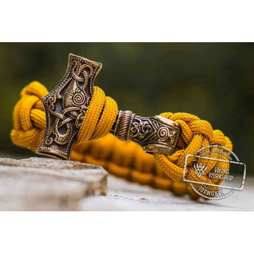 Paracord Bracelet with Huge Bronze Mjolnir (Yellow)