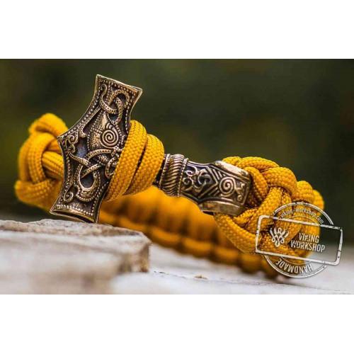 Paracord Bracelet with Huge Bronze Mjolnir (Yellow)
