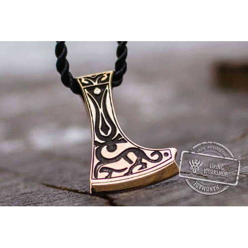 Perun's Axe Bronze Pendant with Deer Ornament