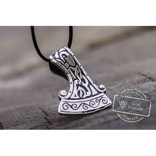 Perun's Axe Small Sterling Silver Pendant with Ornament