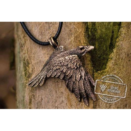Raven Bronze Pendant Viking Amulet