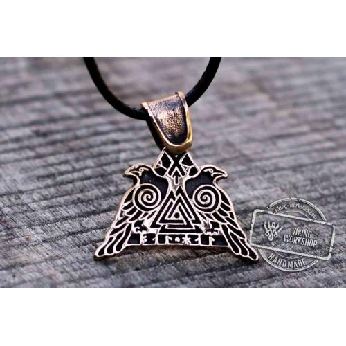 Huginn and Muninn Bronze Pendant Odin's Ravens Viking Amulet