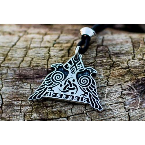 Huginn and Muninn Sterling Silver Pendant Odin's Ravens Amulet