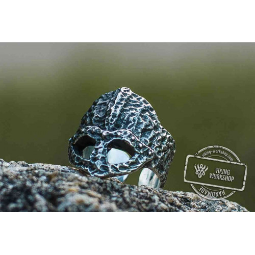 Ruined Helmet Sterling Silver Unique Ring Viking Jewelry