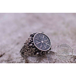 Vegvisir Symbol aka Runic Compass with Oak Leaves and Acorn Sterling Silver Norse Ring