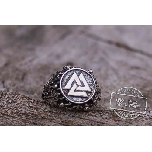Valknut Ring with Oak Leaves and Acorns Sterling Silver Viking Ring