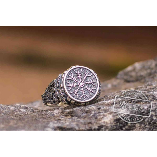 Aegishjalmur or Helm of Awe Symbol with Oak Leaves Sterling Silver Viking Ring