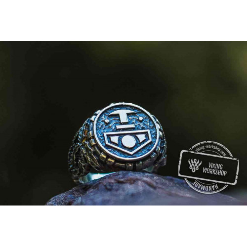 Thor's Hammer Ring with Oak Leaves Sterling Silver Viking Ring