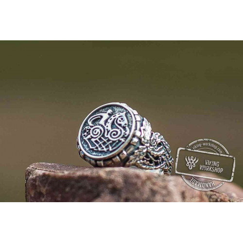 Sleipnir Ring with Oak Leaves Sterling Silver Norse Jewelry