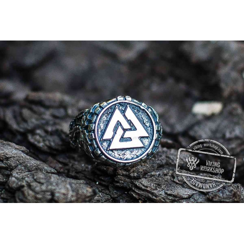 Valknut Symbol with Oak Leaves Sterling Silver Viking Ring