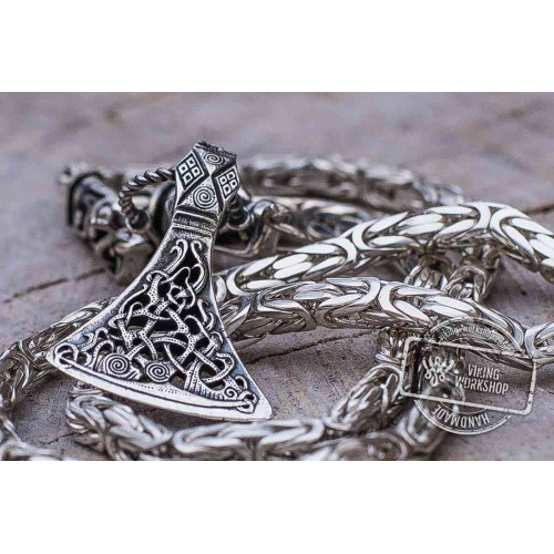 Set of Square Sterling Silver Viking Chain with Wolf Tips and Viking Axe Pendant