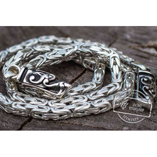 Square Viking Chain with Wolf Tips Sterling Silver Handmade Norse Jewelry