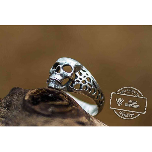 Skull Simple Sterling Silver Unique Ring Biker Jewelry