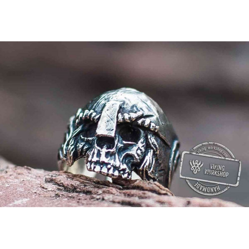 Skull with Helmet Sterling Silver Unique Ring Biker Jewelry