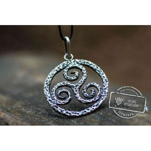 Spiral Triskele Symbol Pendant Sterling Silver Viking Jewelry