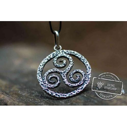Spiral Triskele Symbol Pendant Sterling Silver Viking Jewelry