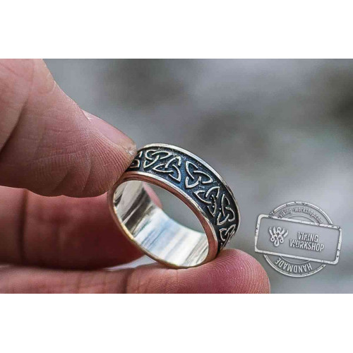 Triquetra Symbol Sterling Silver Celtic Ring