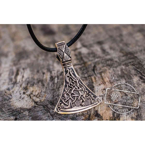 Viking Axe Bronze Pendant with Ornament from Mammen Village